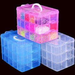 Wholesale Box Cabinets - 3-layers detachable DIY desktop storage box Transparent Plastic Storage Box Jewelry Organizer Holder Cabinets for small objects