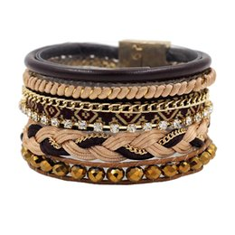 Wholesale Magnetic Girl - Wholesale-2016 pulseras Multi-layer Leather Wide Bracelets & Bangles with Bead Chain Magnetic Clasp Bracelet for Unisex Girls Woman