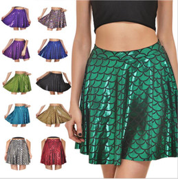 Wholesale Pleated Skater Mini Skirt - Mermaid Skirts Fish Scales Summer Plus Size Skirts Casual Skater Pleated Skirts Fashion Sexy Print Mini Dress Clubwear Women Vestidos B2630
