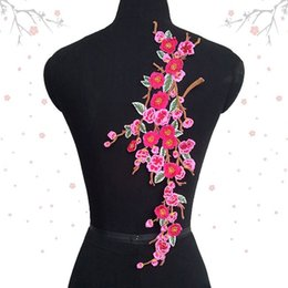 Wholesale Plum Cross Stitch - 18*42cm big red plum blossom flower embroidery patch applique with hot-melt adhesive on the back for clothes decoration DIY