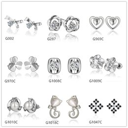 Wholesale Cheap Wholesale Pearl Earrings - Burst models 10 pairs mixed style women's heart pearl flower crystal gemstone 18k white gold earring GTG43,cheap white gold stud earrings
