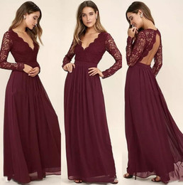 Wholesale T Length Wedding Dress Cheap - Western Country Style Maroon Chiffon 2017 Bridesmaid Dresses Burgundy Lace Long Sleeves V-Neck Backless Beach Wedding Party Dresses Cheap