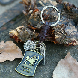 Wholesale Zodiac Key Chains - 12 Constellation Series Zodiac Leather Key Chain Rings Alloy Retro Punk Men's Women's Gift Lovers Present