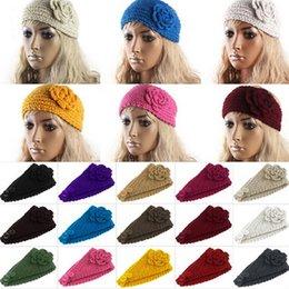 Wholesale Crochet Girls Hair - Women Headband Wool Crochet Headband Knit Hair band Winter Warm headbands Ear Warmer Girls Headwrap Hair Accessories 24 Colors D498 100pcs