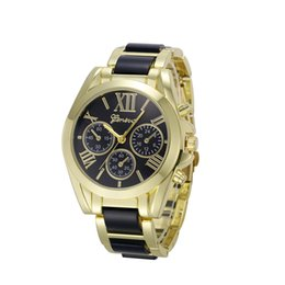 Wholesale Champagne Glasses Wholesale - 2016 New Arrive Women and Men's Watch Analog Quartz Fashion Casual Luxury Geneva Watch Alloy Round wrist watches for women 10 colors