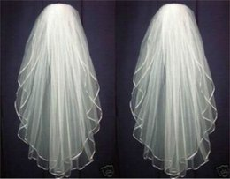 Wholesale Embroidered Edge Veil - White or Ivory Wedding Bridal Veil Elbow Length Satin Edge with comb Length Satin Edge with comb