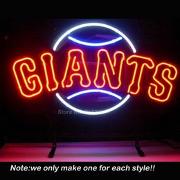 Wholesale Giant Sign - Wholesale- Championss San Franciscoo Giants Neon Light Sign Decorate Real Glass Tube Neon Bulbs Recreation Room Garage Sign Neon Sign 19x15