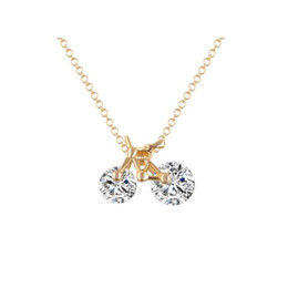 Wholesale Bicycles East - Best Gift 18K Gold Plated Clear Cubic Zirconia CZ Bicycle Shape Chain Necklace Fashion Jewelry for Women