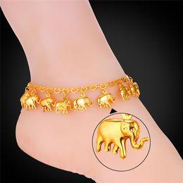 2019 zapatos de la boda del victorian U7 mujeres tobillera colgante afortunado elefante nuevo envío gratis 18 K oro real / platino plateado joyería de moda con significado 7-A945