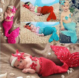 Crochet blu sirena online-puntelli fotografia neonato costume bambino sirena puntelli foto bambino neonato Knitting fotografia accessori uncinetto neonato accessori