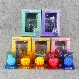 Wholesale One Piece Years - 5 styles One Piece Devil Fruit Ace Flame-Flame Fruit & Luffy Gum-Gum Fruit PVC Figures Collectible Toys Free shipping