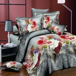 Wholesale Panther Cover - Colorful Peony Flower Home Textiles 3D Bedding Sets Cotton Panther 4 Pcs Duvet Cover Set Flat Sheet Pillowcase Bed clothes