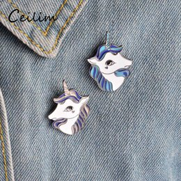 Wholesale Hats Asian - Cute Fashion Unicorn Brooch Pins Button Metal Enamel Animal Horse Fit Denim Jacket Collar Badge Hat Accessories For Women Forest Jewelry