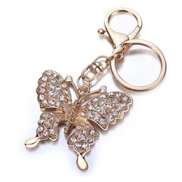 Wholesale Butterfly Keychains - High quality Rhinestone Butterfly Jewelry keychain women key holder chain ring car llaveros bag pendant Charm
