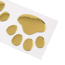 Wholesale Foot Car - Cool Design Paw Car Sticker 3D Animal Dog Cat Bear Foot Prints Footprint 3M Decal Car Stickers Silver Gold