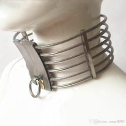 Wholesale Stainless Steel Posture Collar - Latest Unisex Stainless Steel Wire Necklet Neck Ring Collar Restraint Posture Bondage Chastity Lock BDSM Sex Games Toy Product