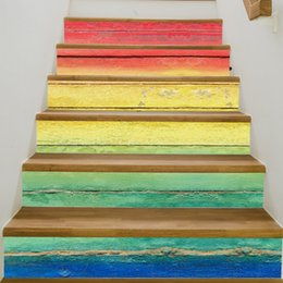 Wholesale Wood Pattern Vinyl - 3D Hot Selling DIY Steps Sticker Colorful Wood Grain Stairs Decals Removable Stair Sticker Home Decor Ceramic Tiles Patterns
