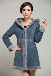 Wholesale Genuine Lamb Fur Coats - Wholesale-2016 Fahion Lady Genuine Sheepskin Coat Hooded Lamb Fur Lining Sheared Fur Hoody Warm Jacket Solid Color Overcoat AU00157
