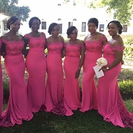 Wholesale Ivory Square Mermaid Wedding Dress - 2016 Fuchsia Arabic Long Mermaid Bridesmaid Dresses New Satin with Lace Beaded Square Neck Sweep Train Zipper Formal Wedding Guests' Dress