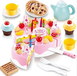 Wholesale Pretend Kitchen Food - 54pcs DIY Cutting Birthday Cake Kitchen Food Toy Pretend Playhouse Game Cookware Cooking Set Children Kids Baby Classic Early Education Toy