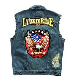 Canada Aigle Drapeau Motif Design Patch Moto Denim Vest Hommes Vintage Sleevess Rivet Broderie Biker Ride Gilets Slim Fit cheap eagle biker patches Offre