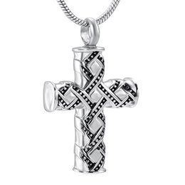 Wholesale Vintage Rhinestone Cross Necklace - Vintage Design Pet Human Ashes Cremation Jewelry 316L Stainless Steel Ash Keepsake Urns Pendant Necklace For Pet Human Ashes Accessories