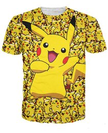 Wholesale Pikachu T Shirt Women - New arrive fashion summer short sleeve women men happy lovely pikachu 3D solid t -shirt afford the price high quality print