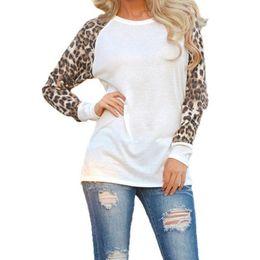 Wholesale Women Fall Shirts - Women Fall Long Sleeve O Neck T-shirt Leopard Sleeve Loose Casual Tees Women's Fashion Tops Plus Size White Black Gray