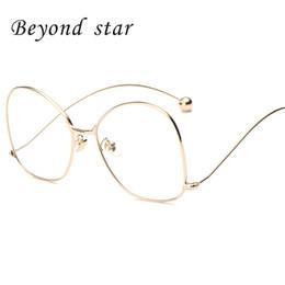 Wholesale Designer Sunglasses Clear Lens - Wholesale- Beyond Star Women Fashion Oversized Sunglasses Big Metal Frame Designer Ball Legs Clear Lens Goggles Oculos De Sol Feminino F18