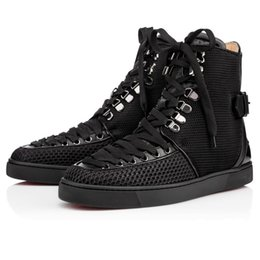 Wholesale Fabric Printing Designs - Luxury Party Men Women Red Bottom Sneakers Lace Up High Top Sneaker Boots,Design Flats Casual Walking Shoes 35-46