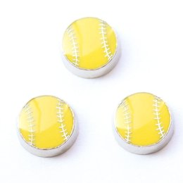 Wholesale Wholesale Softball Beads - softball charms , floating charms for living locket, 20pcs lot, free shipping--98