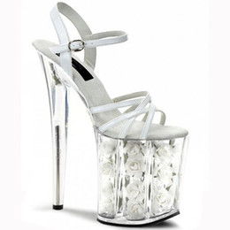 "Wholesale Fashionable Dress Shoes - 20cm white flower wedding shoes women motorcycle high heel shoes 8"" fashionable dress high heels pole dancing sandals platform"