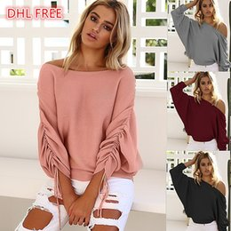 Wholesale Black Tees Wholesale - Top Quality Autumn Women's Off The Shoulder Sexy Sweater Tops Tees Women's Knitting Shirt Draped Design Black Pink Red Gray Colors DHL Free
