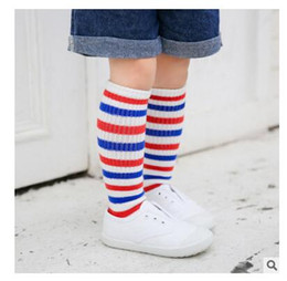 Wholesale Wholesale Babies Christmas Socks - Baby Socks Knee High Boy Girl Sock FALL Winter Striped Cotton Socks Children Middle Socks High Sock Leg Warmers Legging Christmas Gifts