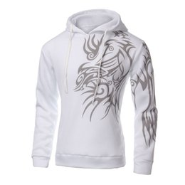 Wholesale Mens Tattoos - Wholesale-NEW Mens Fashion Hooded Tattoo Dragon Printed Pullover Sweatshirts Fleece Casual Coat White M