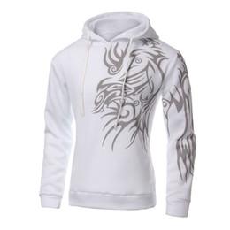 Wholesale Tattoo Dragon New - Wholesale-NEW Mens Fashion Hooded Tattoo Dragon Printed Pullover Sweatshirts Fleece Casual Coat White M