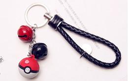 Wholesale Plastic Red Bells - Poke Ball bell pocket car key ring Toy Pocket Pendant plastic Ornament ring fashion cartoon keychains for