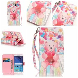 Wholesale Bling Cards - 3D Glitter Diamond Bling Butterfly Owl Bear Painted Case For Samsung Galaxy S6 Flip Leather Wallet Cover