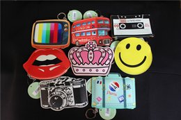 Wholesale Crown Pouch - Cute PU Coin Purse Emoji Bus Television Suitcase Lip Crown Key case Card holders Cute Cartoon pouch Bag pendants 10*15cm kids xmas gifts