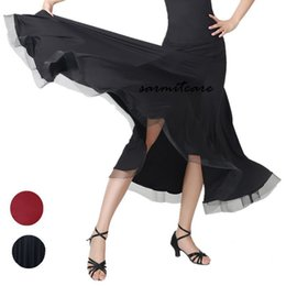 Wholesale Long Ballroom Skirts - D105 - Skirt 2pcs Set Choices Long Sleeve Big Hem Ballroom Dance Competition Dresses with Rhinestones Standard Dance Dresses Ballroom Dress