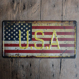 Wholesale Pictures Numbers - USA America vintage embossed metal tin signs garage car plate licence number plate painting plaque picture 15x30cm