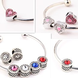 Wholesale Tibetan Bracelets Red - HQ sterling tibetan Sliver rhinestone charms Pandora Loose Beads Space for Pandora Bracelets New Arrival Charm Fit DIY Braceles