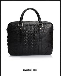 Wholesale Real Crocodile Skin Bags - Wholesale- 2016 Fashion Men's Genuine Real Crocodile Skin Briefcase Laptop Bag Top Handbag Black Brown Coffe