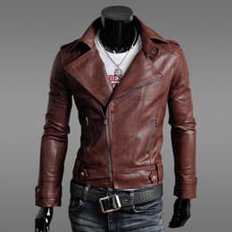 Wholesale Leather Jacket For Short Men - 2016 fall autumn New leather jackets for men casual slim cardigan locomotive jacket men coat outwear men's clothing for winter