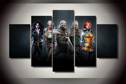 Wholesale Free More Games - 5 Piece No Framed HD Printed the witcher wild hunt game Painting on canvas room decoration print poster picture canvas Free shipping