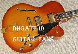 Wholesale Electric Guitars L5 - Custom Cherry Sunburst Flame Maple Top Semi Hollow Body Double F Hole L5 Jazz Electric Guitar Gold Hardware Black Pickguard