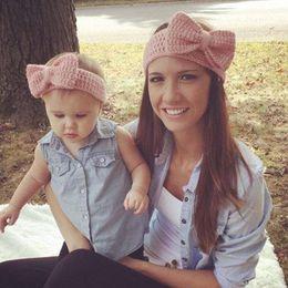 Wholesale Crochet Sets For Infants - Hot Sale! New Mom And Me Crochet Winter Headband Set Fashion Women Knit Headband Infant Crochet Headband Ear Warmer For Girl 1Set