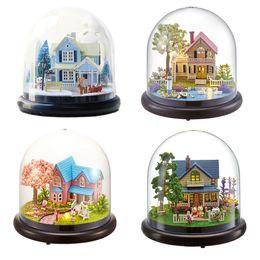 2019 regalos románticos bola de cristal DIY ensamblar la casa de muñecas en forma de bola de cristal en una casa de muñecas en miniatura romántica con luz LED Craft regalo de cumpleaños regalos románticos bola de cristal baratos