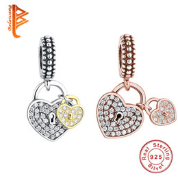 Wholesale Rose Cube - BELAWANG 2 Colors Silver&Rose Gold Locks Charms 925 Sterling Silver CZ Love Heart Charms For Women Fit Pandora Charm Bracelet Jewelry Making