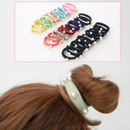 Argentina 10Pcs Negro / Multicolor Pearl elástico de pelo bandas de goma de pelo lazos Ponytail Holder accesorios de pelo para las mujeres Scrunchy Girls black rubber girls promotion Suministro